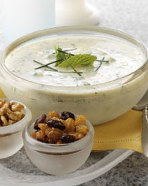 Minted Yogurt Soup with California Raisins, Walnuts and Chives