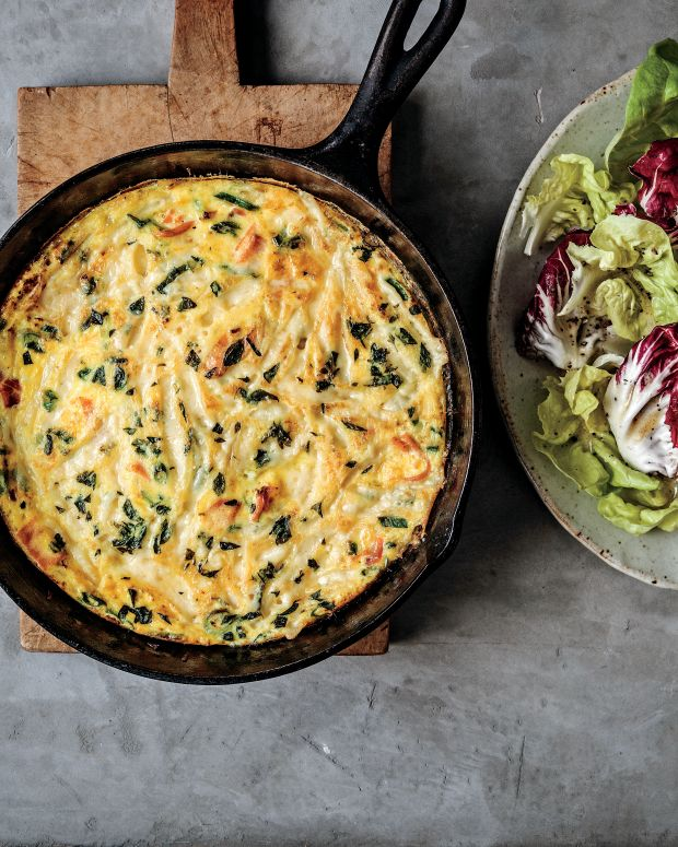 Smoked Salmon Frittata with Gruyère and Fresh Herbs