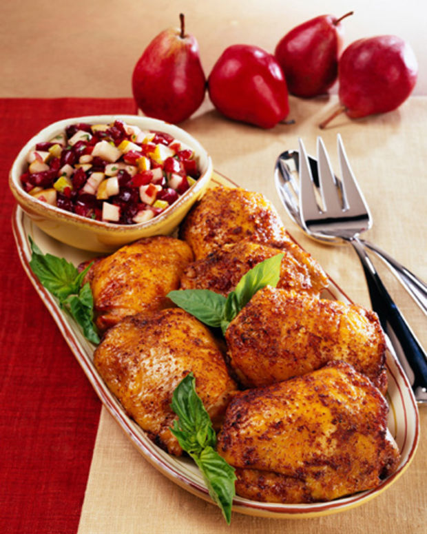 roasted chicken thighs with fall fruit salsa