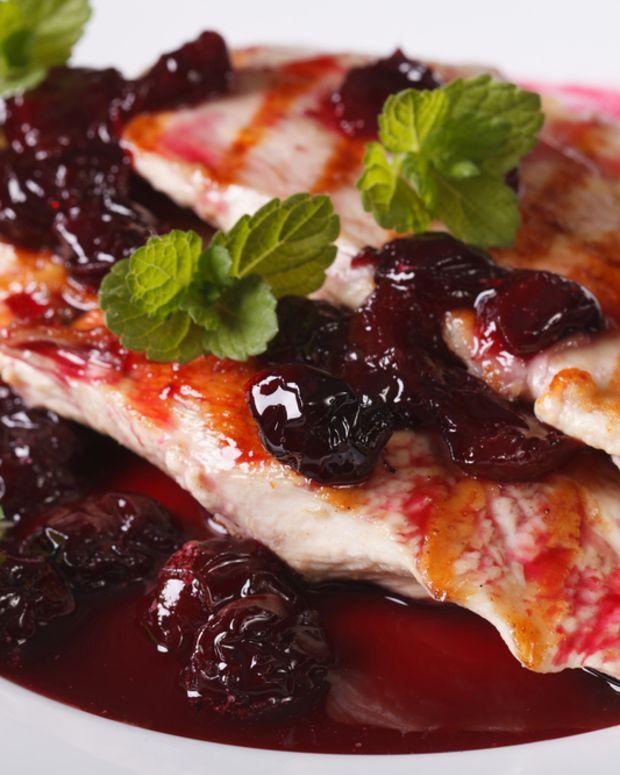 turkey thighs in sweet cherry sauce