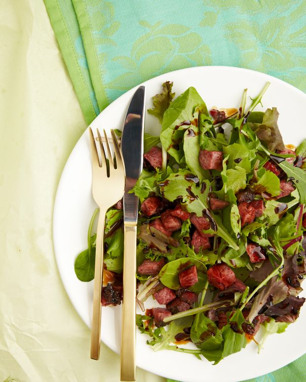 Spring Leaf Lettuce with Pastrami Croutons and Balsamic Vinaigrette, low carb and delish