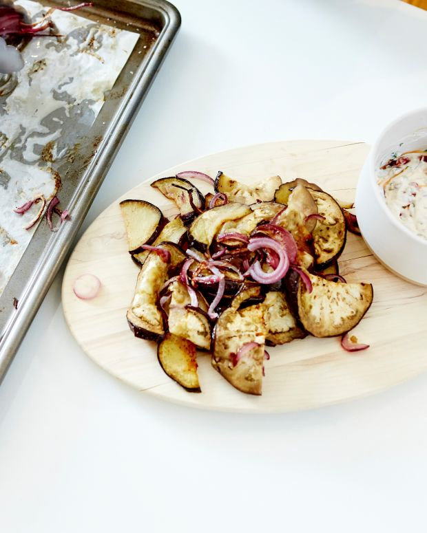 Roasted Eggplant & Red Onion with Yogurt, Silan and Pomegranates 29.jpg