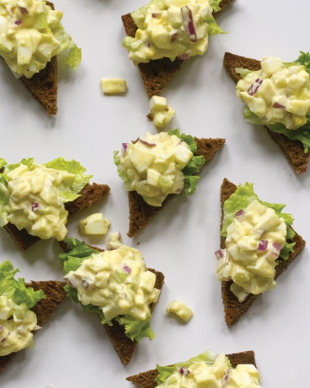 Gourmet Egg Salad on Pumpernickel Toast Points