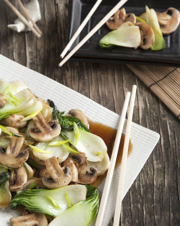 Asian Bok Choy and Mushrooms with Tofu