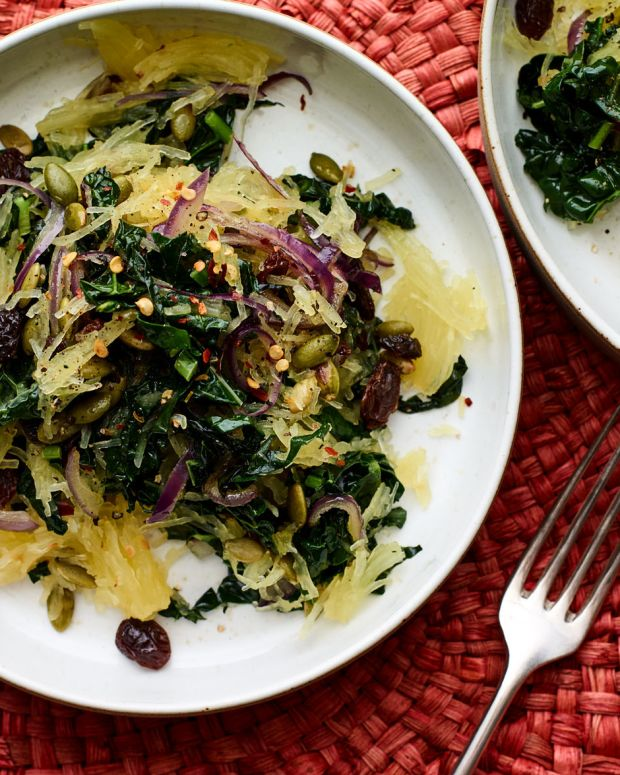 Spaghetti Squash with Sautéed Kale, Red Onions, and Raisins