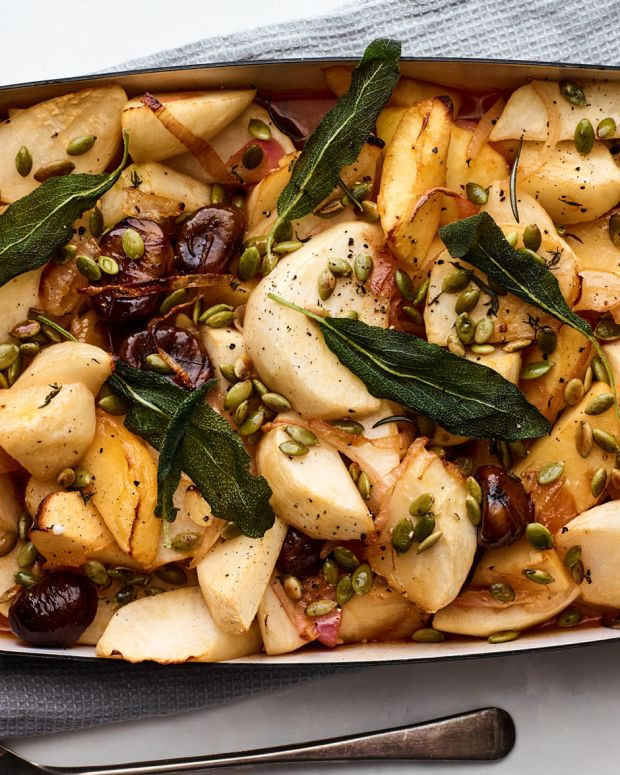 Braised Turnips, Chestnuts, and Apples
