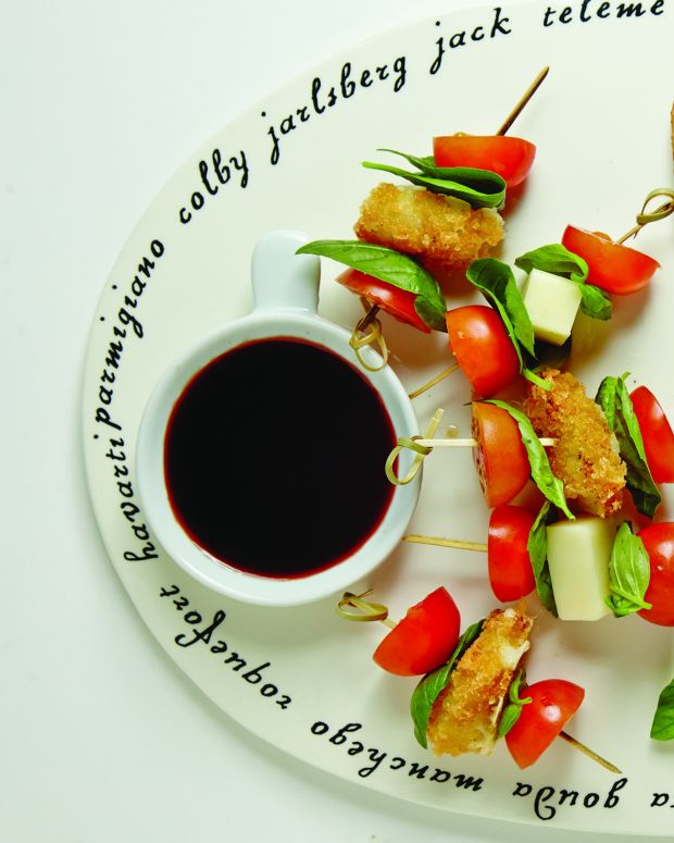 Fried Provolone-Tomato Skewers