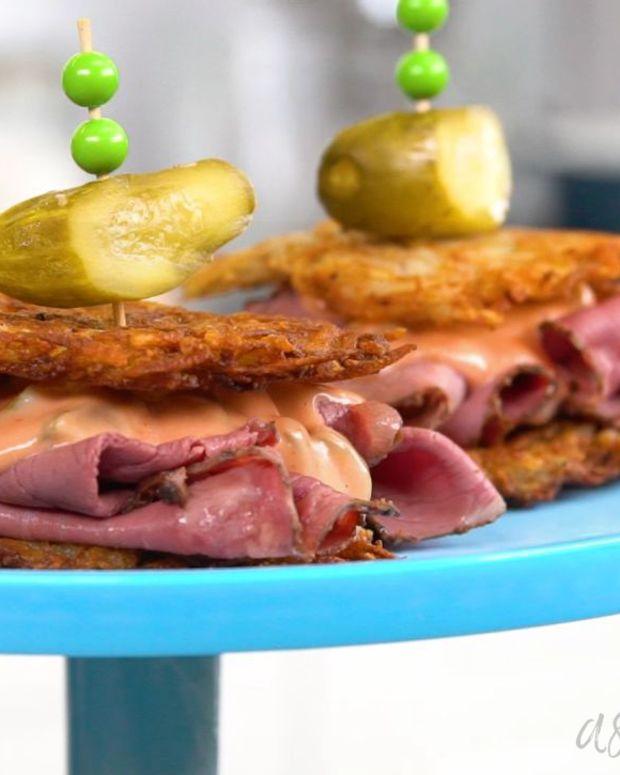 reuben-potato-pancake-sliders