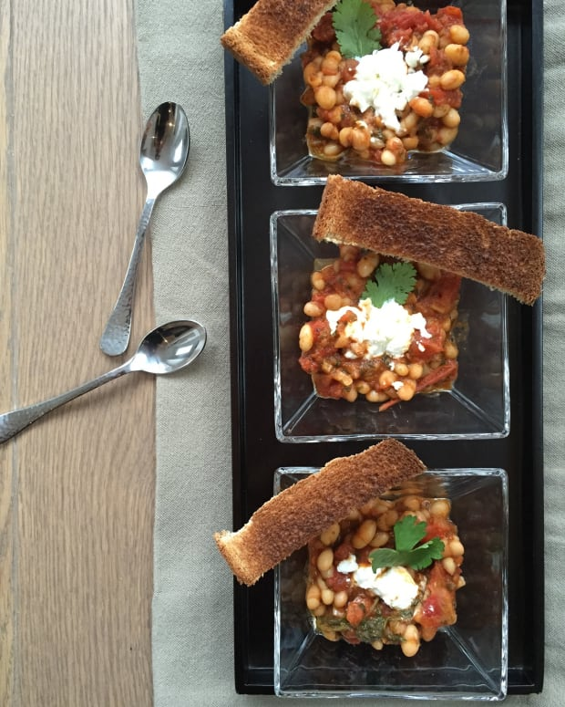 White Bean Stew with Goat Cheese