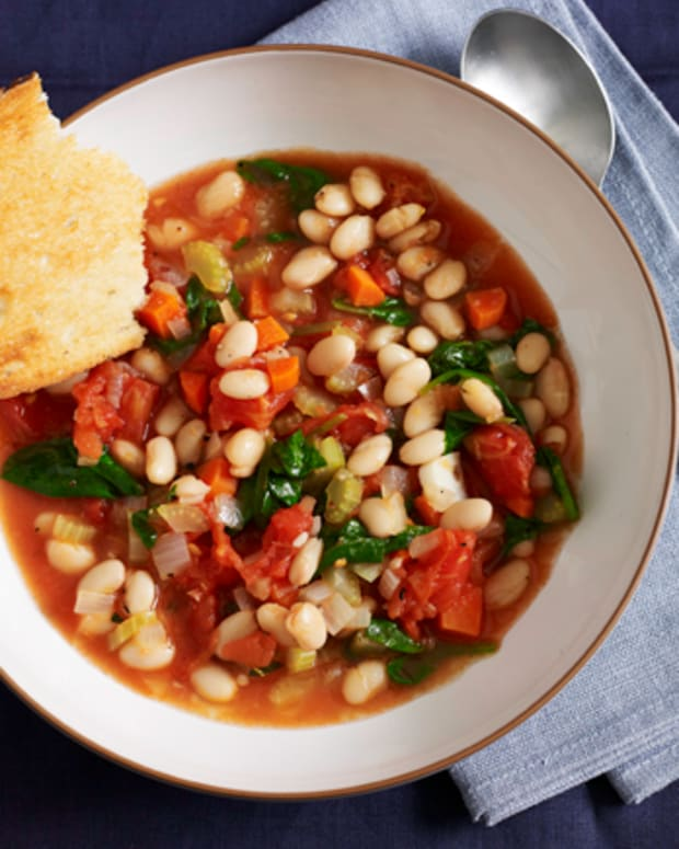 White Bean Soup with Lemon and Garlic Cornbread