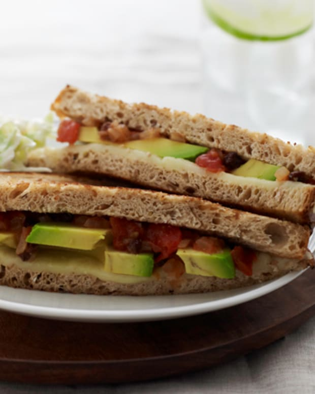 Lite Grilled Cheese with Tomato Chutney and Coleslaw