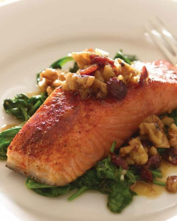cranberry walnut salmon on a bed of spinach (99)