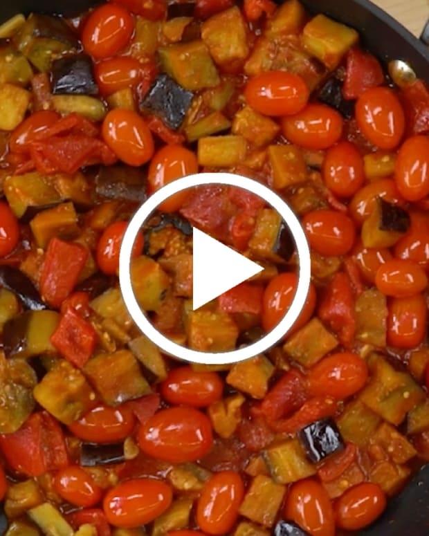 Roasted Eggplant and tomato salad