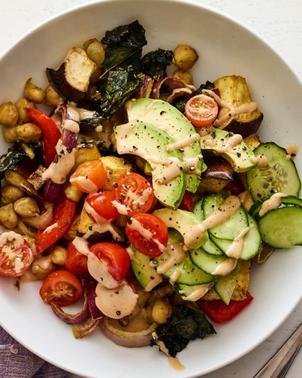 israeli sheet pan vegan power bowl