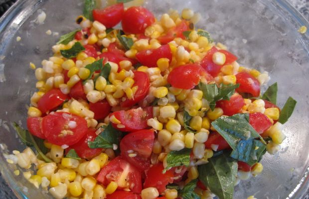 Grilled Corn basil and tomato salad