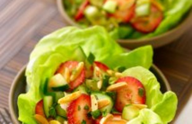 Strawberry-Cucumber Salad with Almonds and Mint