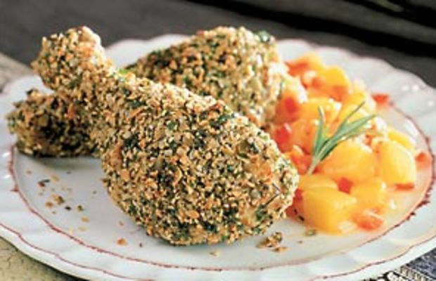Herb and Pumpkin Seed Coated Chicken Drumsticks