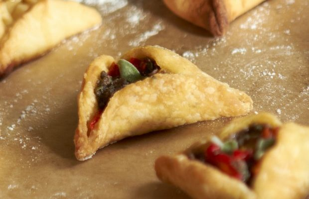 Cardamom Scented Hamantaschen with Goat Cheese and Pear Filling