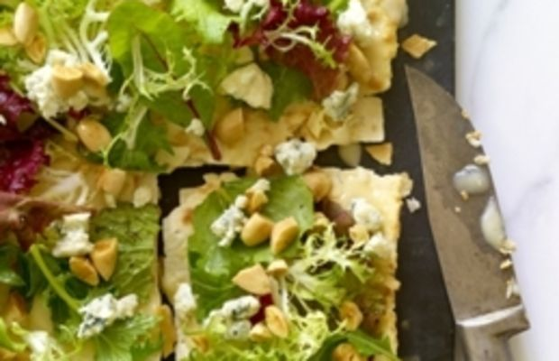 Lavash Pizza with a Salad of Greens, Gorgonzola & Toasted Almonds