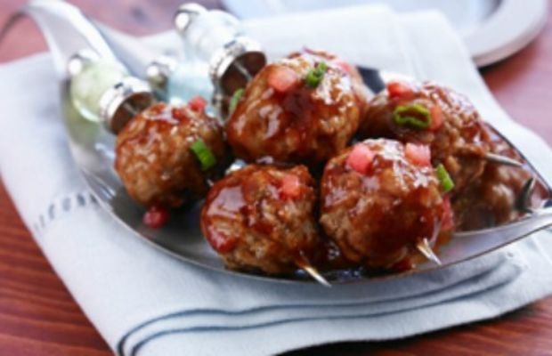 Watermelon Glazed Mini Barbequed Meatballs