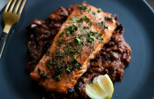 Watch Parsley Crusted Salmon Over Spanish Eggplant