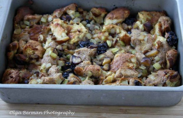 Challah and Whole Wheat Bread Stuffing with Cherries and Chestnuts