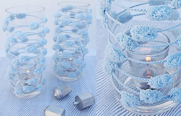 Chanukah pom pom yarn candle jars jOK