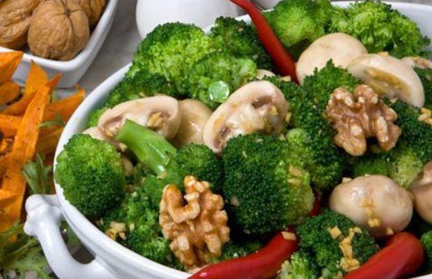 Mollie Katzen's Broccoli Salad with Mushrooms & Walnuts
