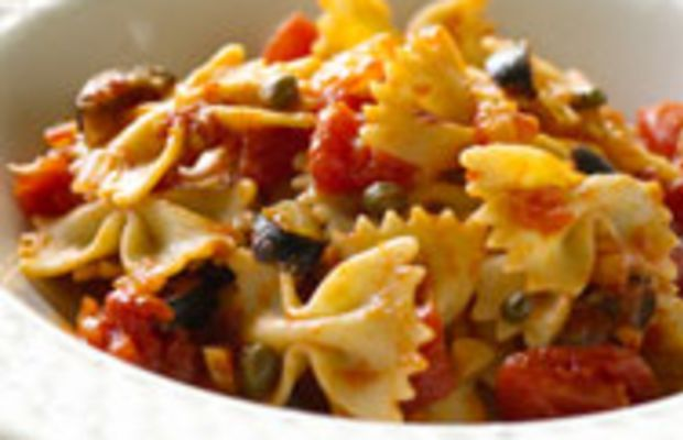 Whole-Wheat Bow Tie Pasta With Puttanesca Sauce