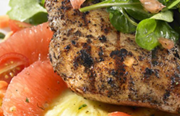 Florida Grapefruit and Jerk-Grilled Chicken with Arugula Salad