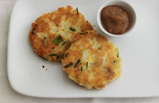 Cheddar and Potato Latkes with Spiced Applesauce