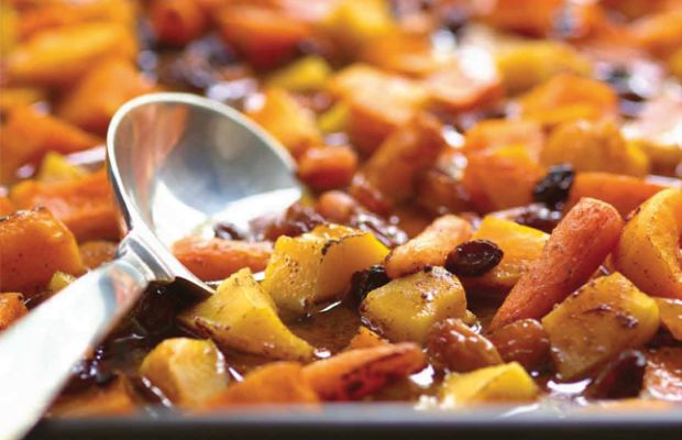 Roasted Sweet Vegetables in a Spicy Cinnamon Cider