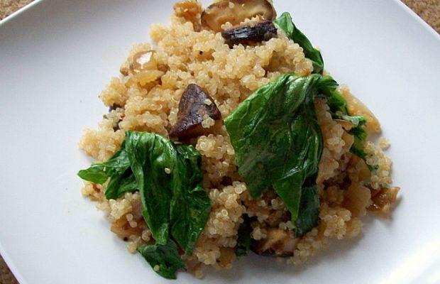 spinach and portobello quinoa