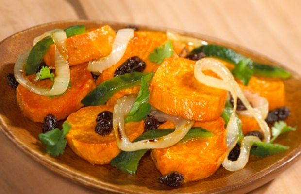 Sweet Potatoes with Raisins and Poblano Chile Rajas