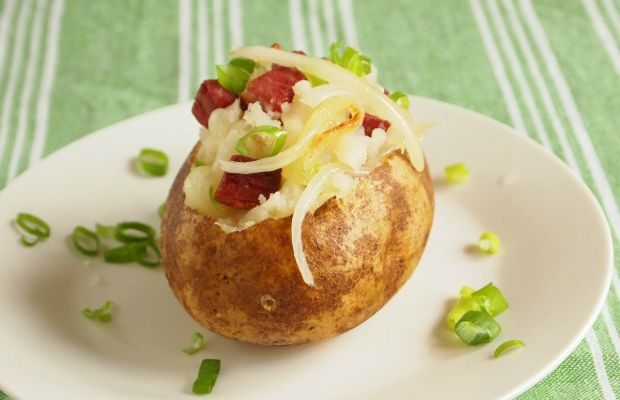 corned beef stuffed potato