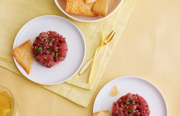 Tuna Tartar with Honey Sesame Wonton Crisps