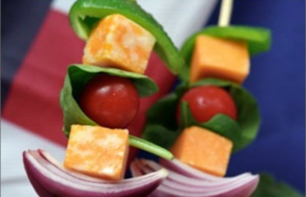 Salad on a Stick with Honey Mustard and Cilantro Lime Dressings