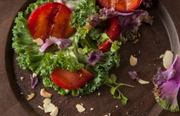Grilled Plums with Kale Salad