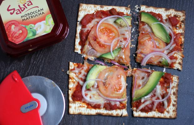 avocado matzah pizza