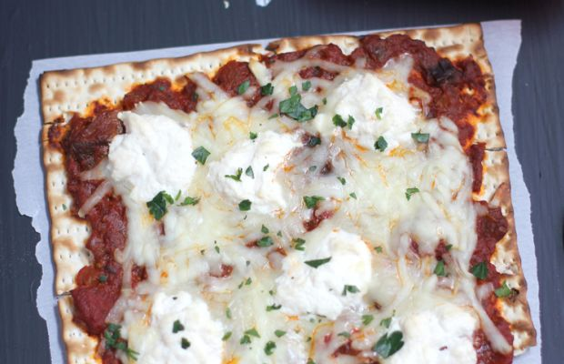 Ratatouille and Ricotta Matzah Pizza Long