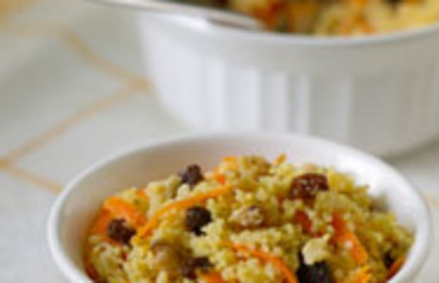 Couscous With Carrots, Walnuts, and Raisins