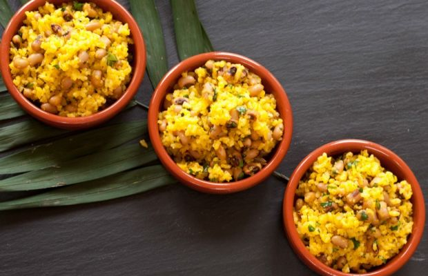 Brazilian style rice and black eyed peas