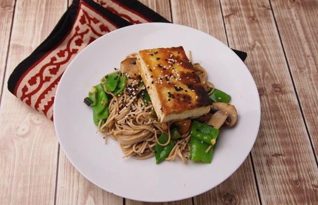 miso glazed tofu with soba noodles
