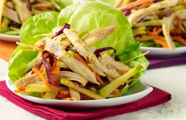 Ginger Curry Lettuce Wraps with Rainbow Coleslaw