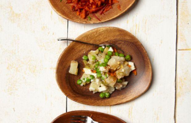 israeli potato salad and rainbow salad