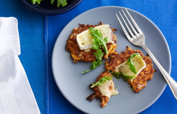Sweet Potato Latkes with Brie and Baby Arugula