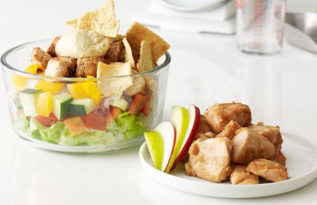 apple chicken and shwarma salad