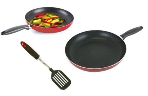 red fry pan set