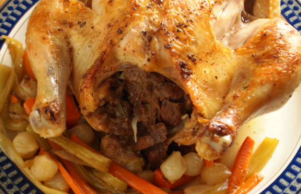 Stuffed Roasted Chicken with Vegetables