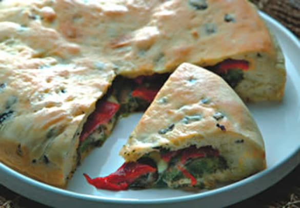 Roasted Red Pepper and Olive Scacciata